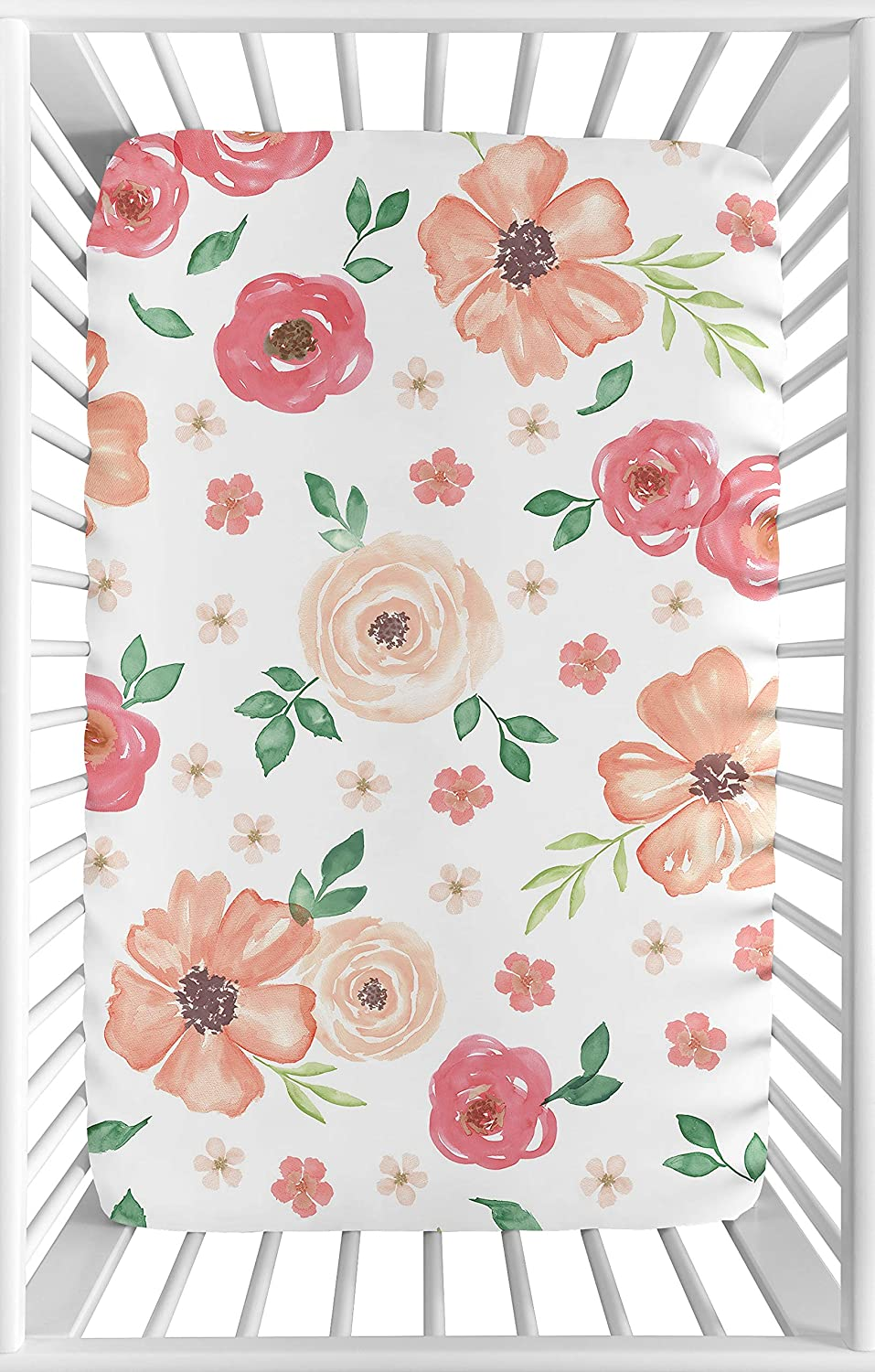 Sweet Jojo Designs Peach and Green Baby Girl Fitted Mini Portable Crib Sheet for Watercolor Floral Collection - Pink Rose Flower - for Mini Crib or Pack and Play ONLY