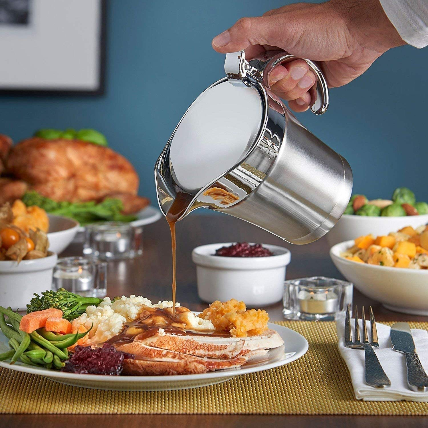 DOUBLE WALL INSULATED STAINLESS STEEL GRAVY BOAT 500ML SAUCE JUG LID KITCHEN NEW DP