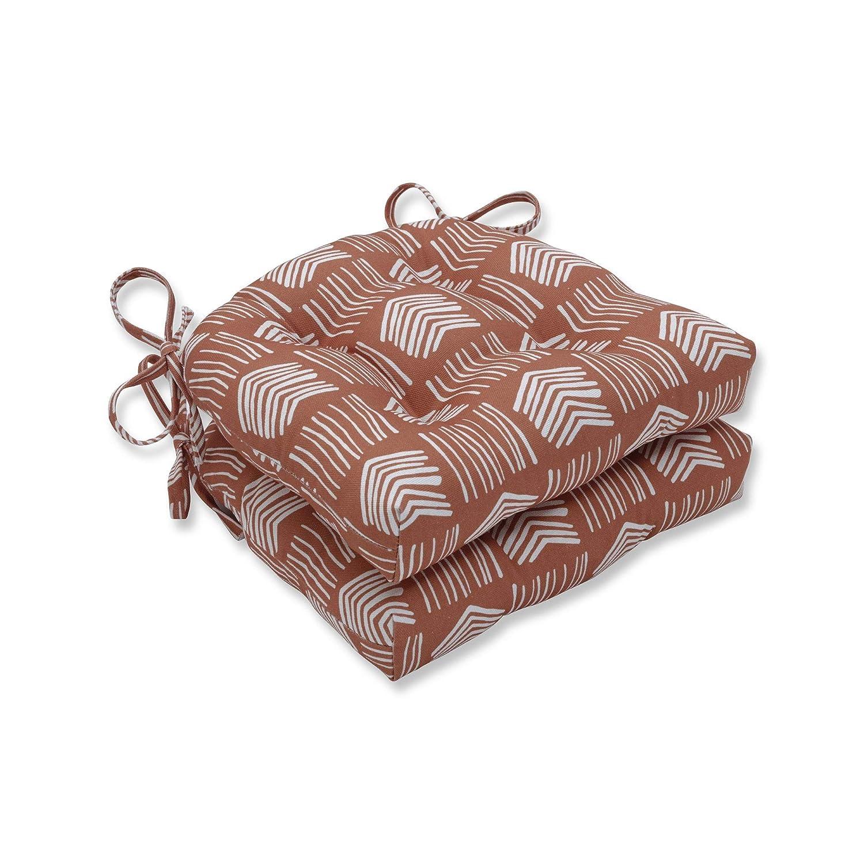 CC Home Furnishings 16インチ ベージュとホワイト エアロシャフト アクセント インドア リバーシブル 椅子パッド   B07HSSM416