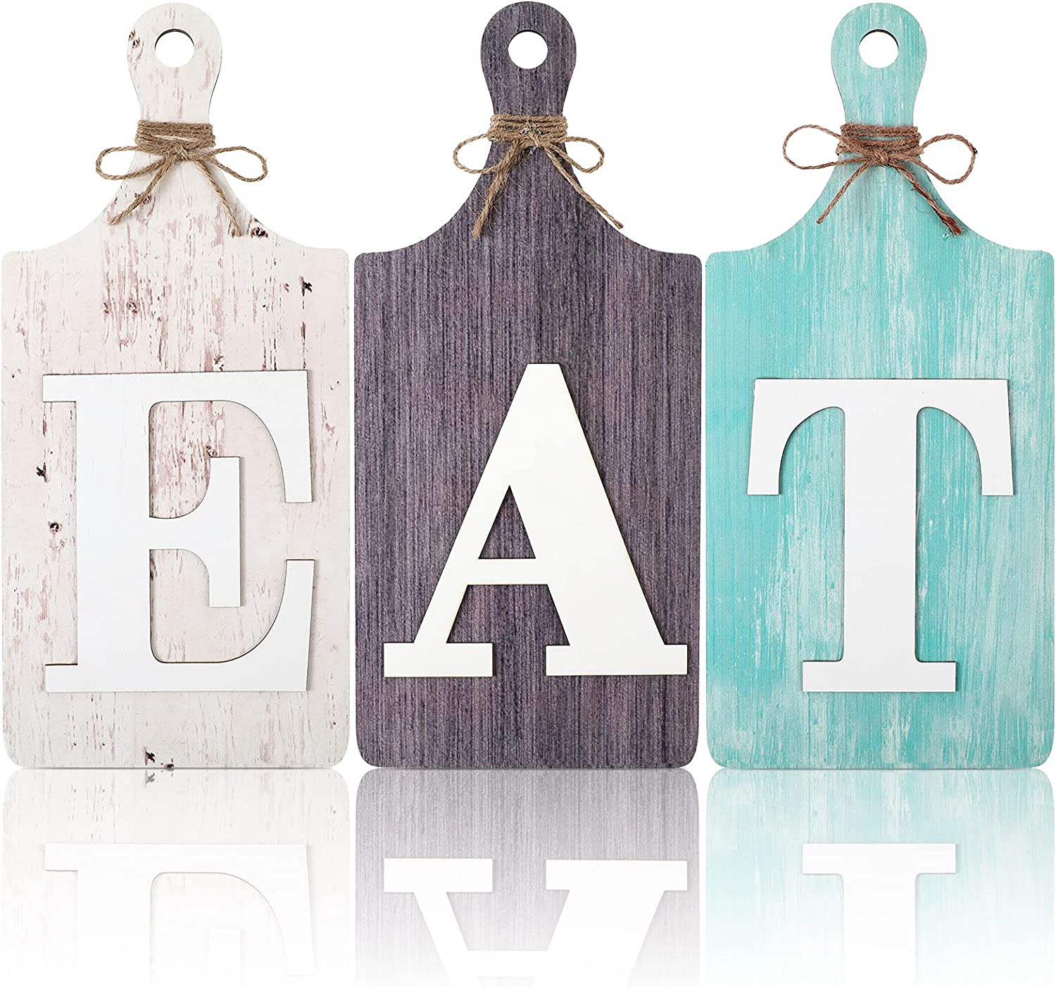 3 Pieces Rustic Wooden Eat Cutting Board Sign Hanging Wall Decor Large Farmhouse Eat Letters Wood Kitchen Sign for Home Kitchen Cabinets, Dining Living Room Restaurant Cafe