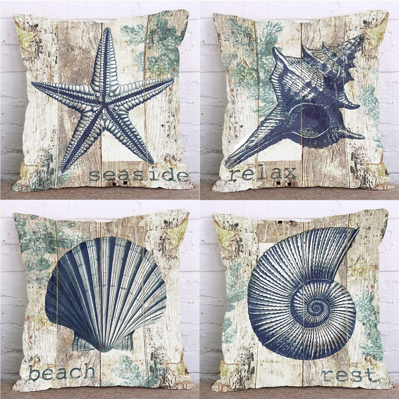 LuckyCow Set of 4 Farmhouse Decorative Throw Pillow Covers Beach Wood Theme Starfish Conch Shell Summer Pillows Cover Holiday Decor Home Car Bedding Cushion Cover Cotton Linen 18x18 Inch