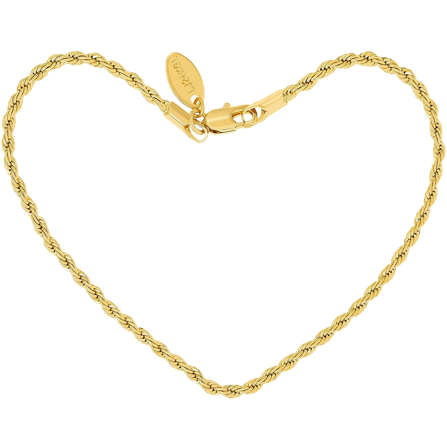 Lifetime Jewelry Anklets for Women Men Teens and Kids - 24K Gold Plated 2mm Rope Chain - Durable Foot Jewelry for Beach or Party - Cute Yellow Gold Ankle Bracelet - Anklet sizes are 9 10 and 11 inches Lifetime Products Group 2mm Rope Chain Anklet