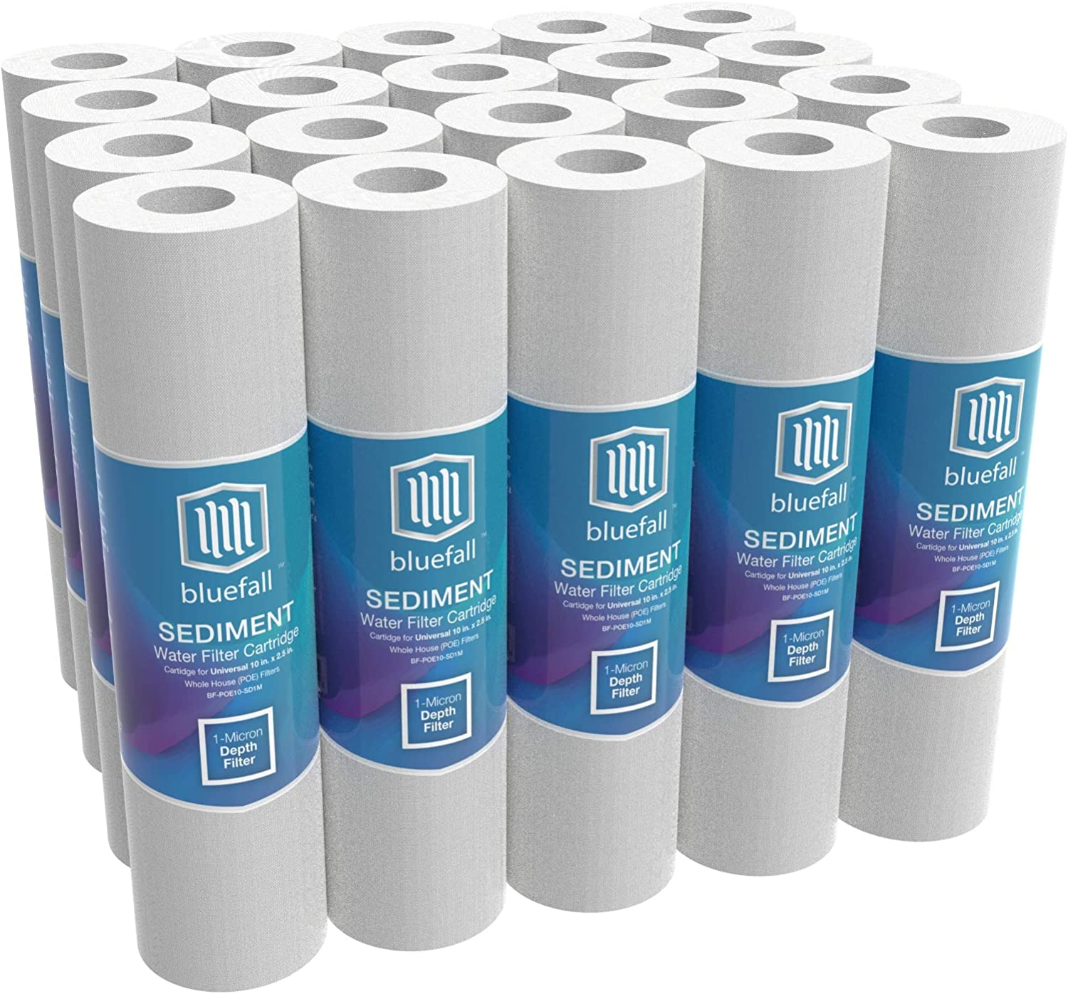 20 1 Micron Sediment Filter 10 x 2.5 Whole House Water Filter Sediment Water Filter Replacement Cartridge Compatible with Any 10 inch Reverse Osmosis Water Filtration System Value Pack