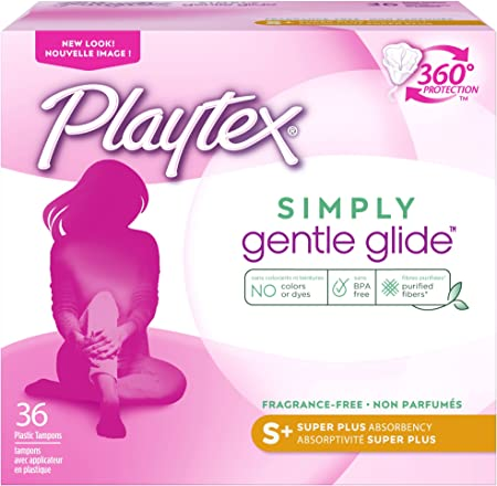 Playtex Simply Gentle Glide Unscented Tampons, Super Plus Absorbency, 36 Count (Pack of 1) (Packaging May Vary)