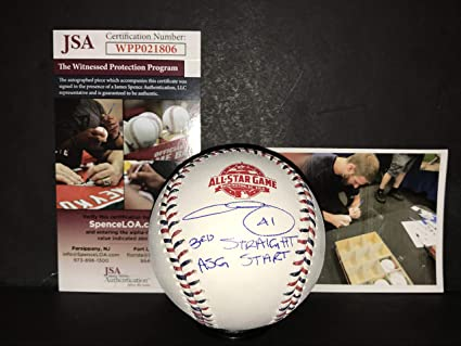 a54dfe48bc9 Image Unavailable. Image not available for. Color  Chris Sale Boston Red  Sox Autographed Signed 2018 All Star Baseball JSA WITNESS COA ...