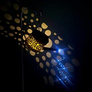 Seefun Garden Solar Firework Light Outdoor Decorative Kettle LED Stake Metal Pot Decor for Patio Courtyard Porch