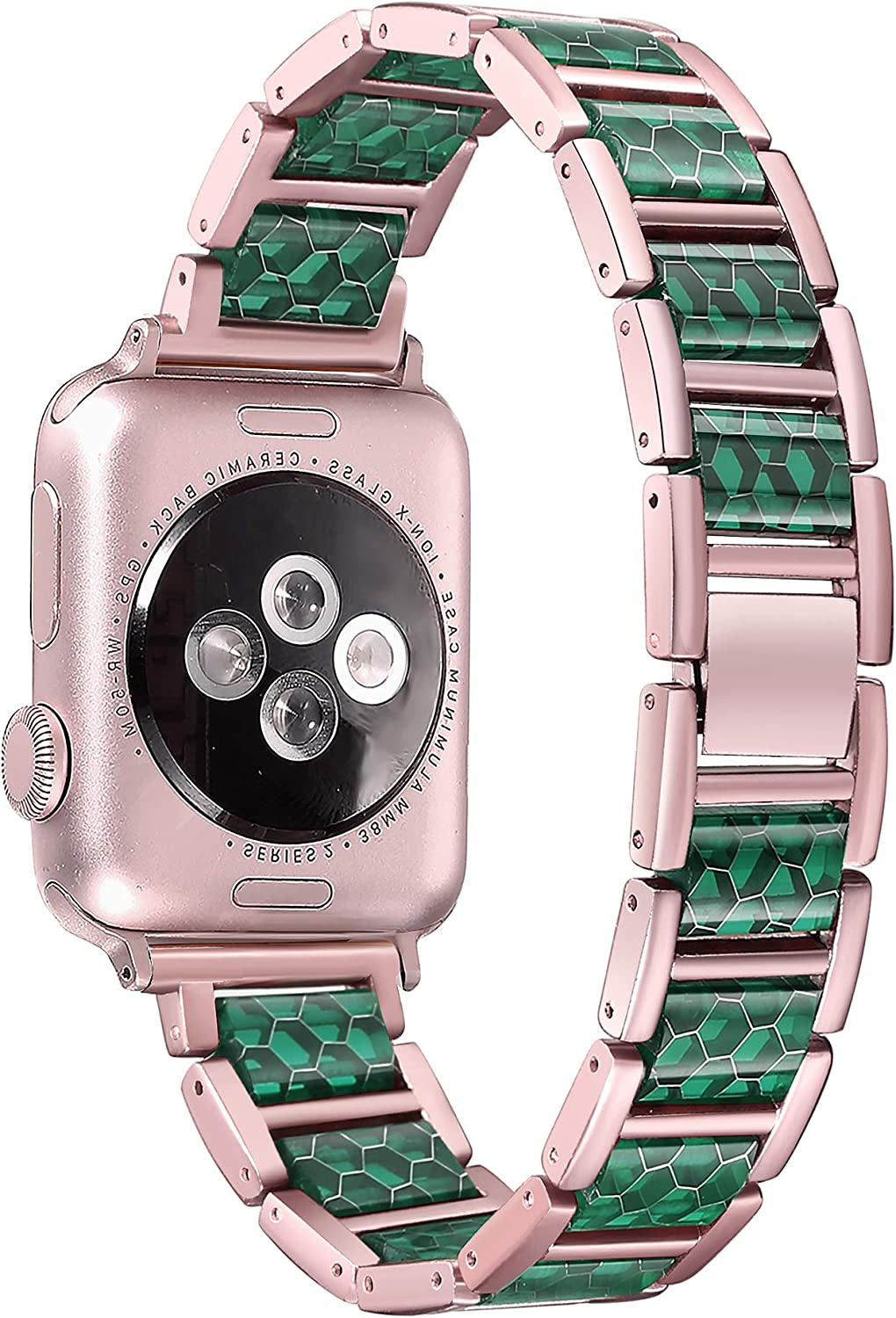 Secbolt Metal Bands Compatible with Apple Watch Band 38mm 40mm (Rose Gold Green), Metal Bands with Resin Ornaments for iwatch Series 5/4/3/2/1 Women Men