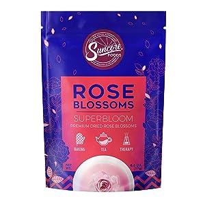 Suncore Foods - Premium Dried Rose Blossoms Superbloom, No Caffeine, No Preservatives, 0.6oz