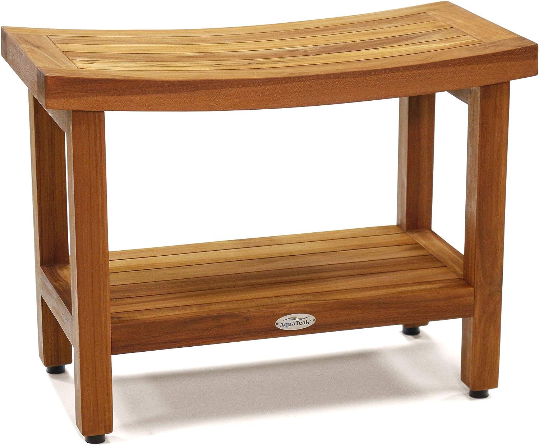 "B00DG97XYI AquaTeak Patented 24"" Sumba Teak Shower Bench with Shelf 816DHAwqMdL"