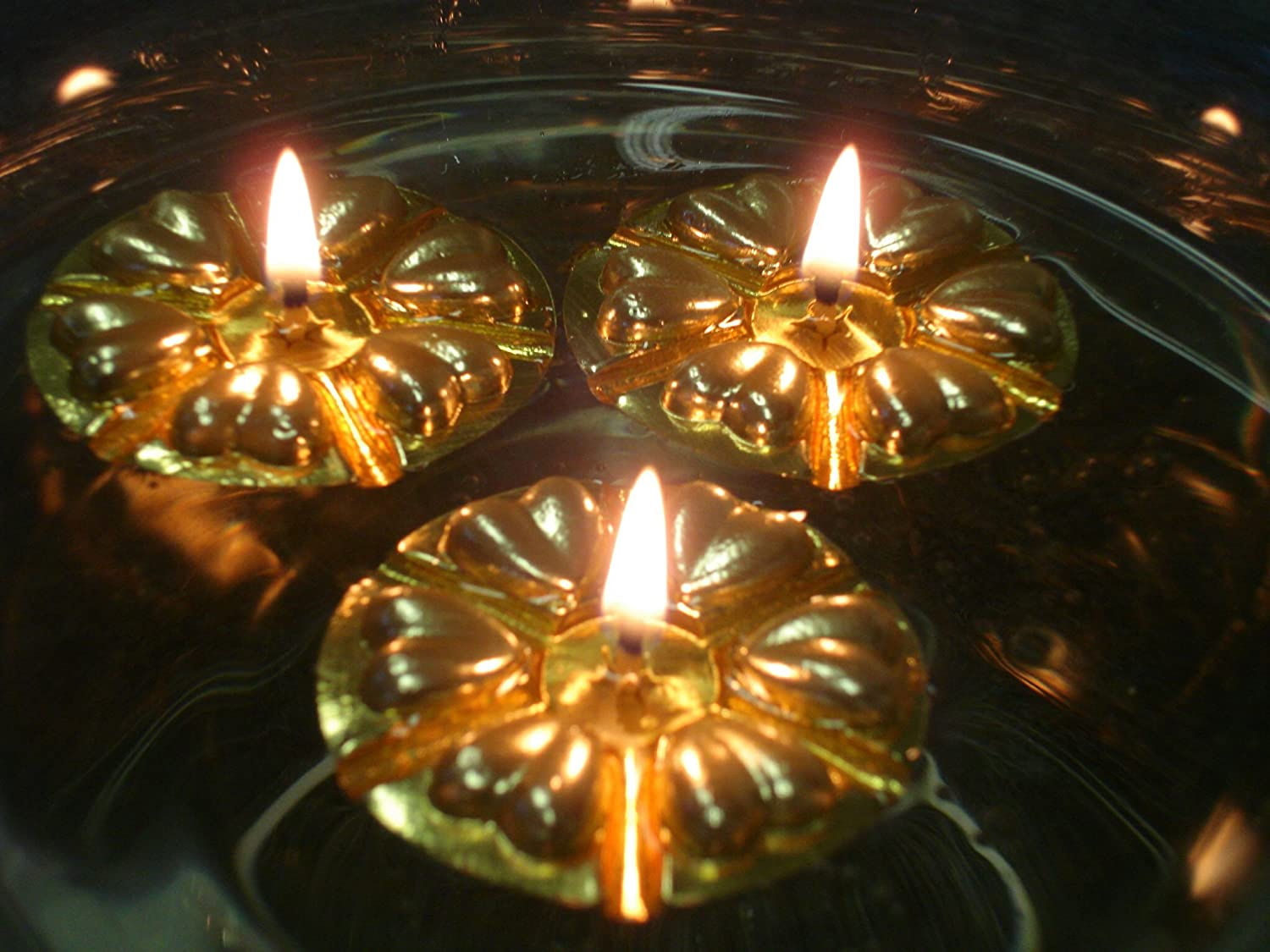 Magical Floating Water Candles 50 Reusable Gold Floats and 50 Long ...