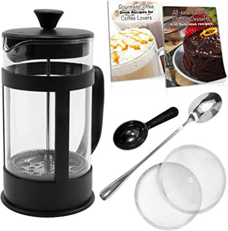 French Press Coffee Maker Bundle 34 Oz 8 4oz.cups , Stainless Steel Components, Double Filter, Borosilicate Glass, 5 FREE Bonuses, Best Coffee Press Pot