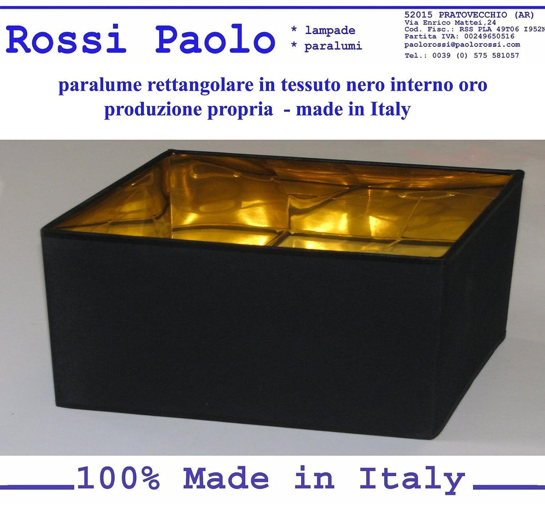 Lampenschirm in schwarzem Stoff mit Gold Interieur - eigene Produktion - made in Italy (Chinesen, cm 14) Paolo Rossi
