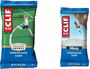 Clif Bar, Chocolate Chip 10 and 10 Mini Energy Made with Organic Oats Plant Based Food Vegetarian Kosher 2.4Oz and 0.99Oz Protein, Full Size Bars & Minis, 20 Count