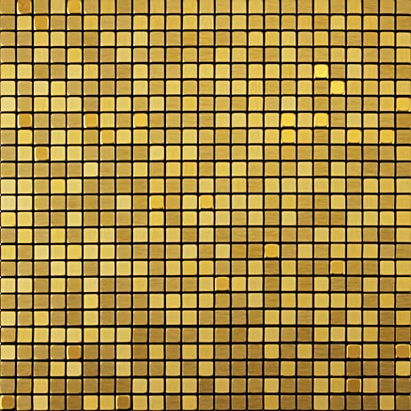 Royllent Decorative Tiles Golden Aluminum Metal Brushed And Mirror Face Type PeelStick Mosaic Kitchen Decoration Backsplash