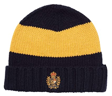 58752d31 Polo Ralph Lauren Men`s Crested Wool Blend Cuffed Knit Hat (Bright  Navy(PC0160-412)/Gold, One Size) at Amazon Men's Clothing store: