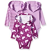 Hanes Ultimate Baby Flexy 3 Pack Hoodie Bodysuits, Purple Fun, 0-6 Months