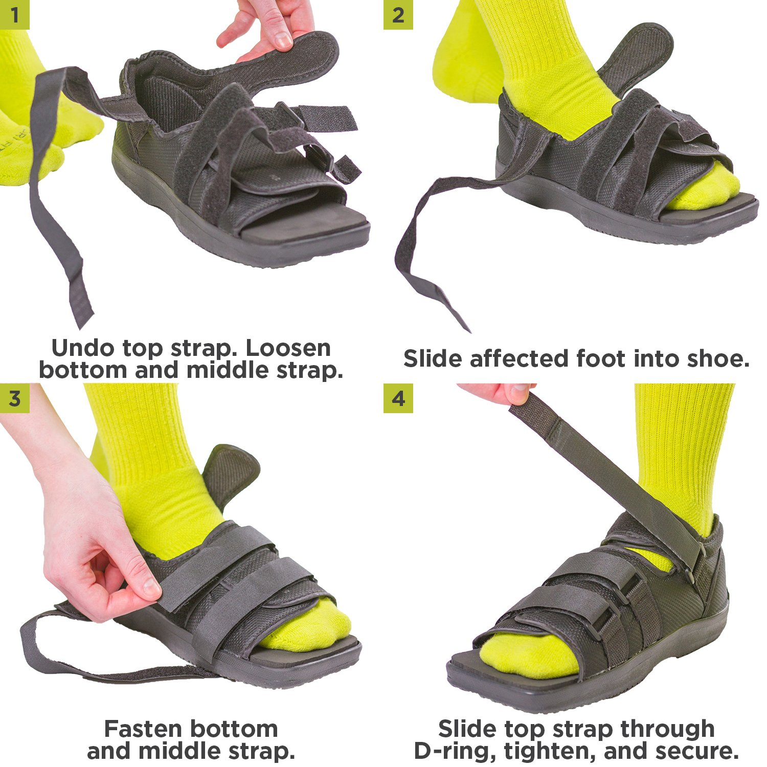 BraceAbility Post-op Shoe for Broken Foot or Toes | Medical / Surgical Walking Boot Cast, Stress Fracture Brace & Orthopedic Sandal with Hard Sole (MEDIUM - FEMALE)