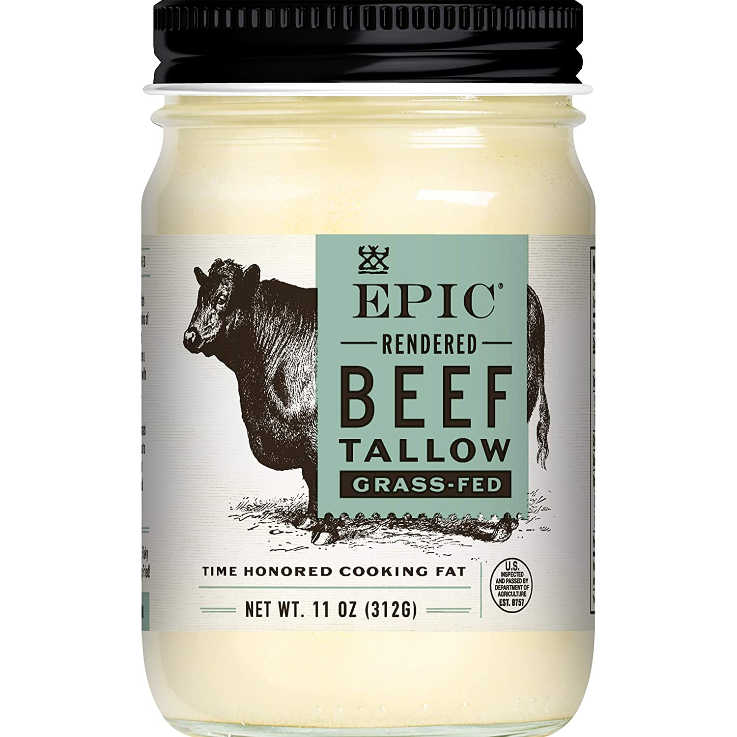 EPIC Beef Tallow, Grass-Fed, Keto Consumer Friendly, Whole30, 11oz jar