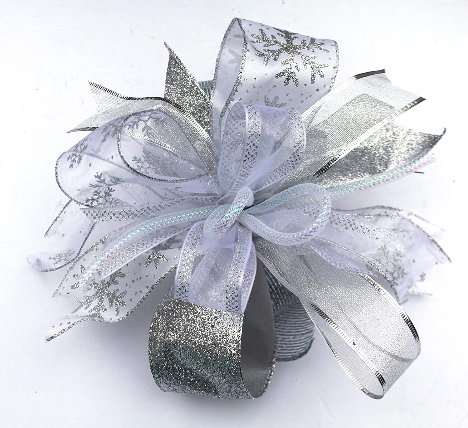 Silver White Christmas bow for decorating