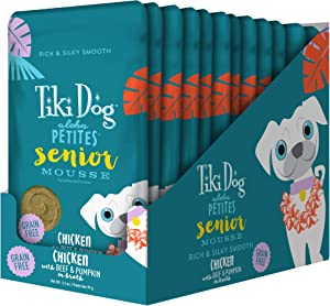 Tiki Dog Aloha Petites Gluten & Grain Free Wet Food for Adult Dogs with Shredded Meat & Superfoods, 3.5oz pouch, 12 pk, Senior
