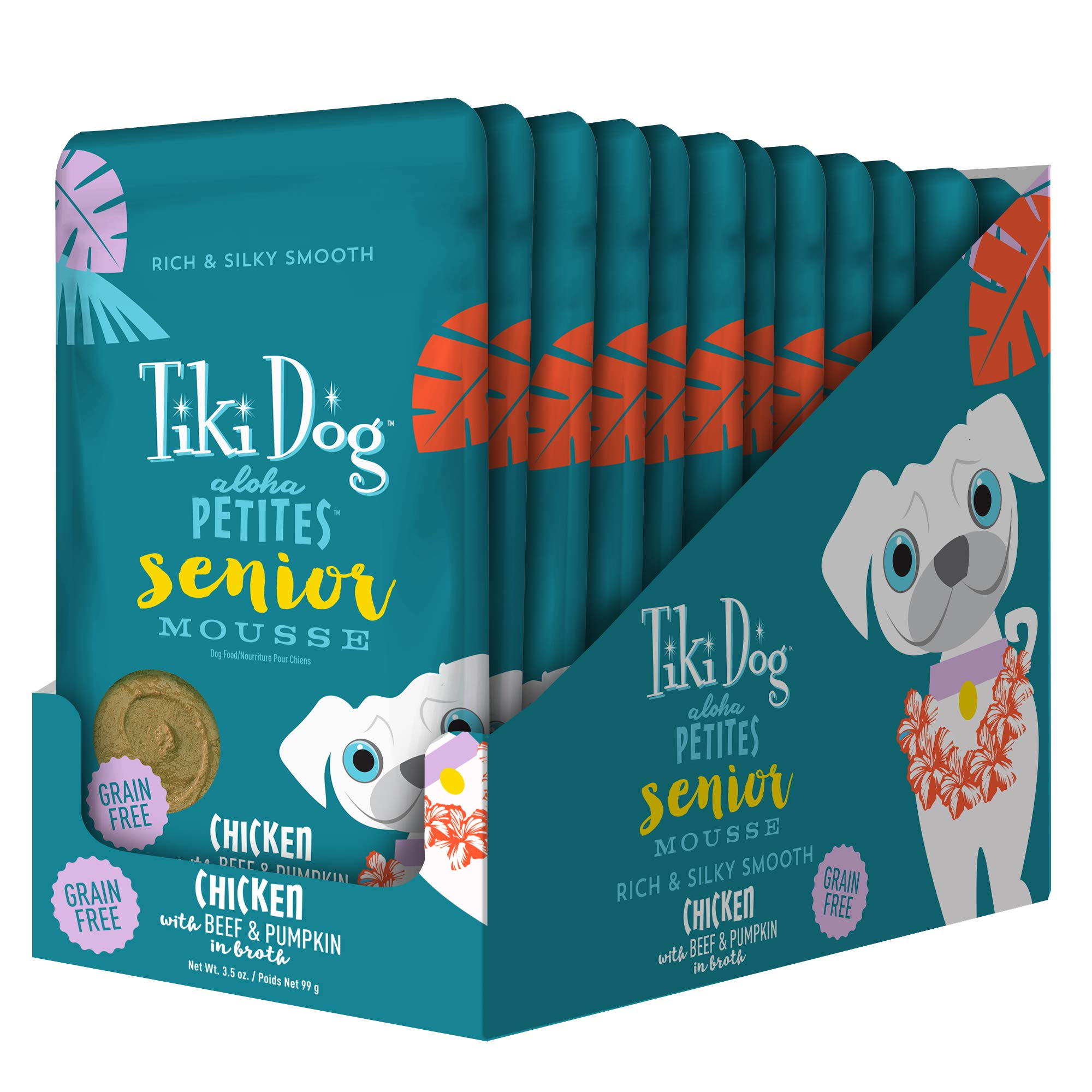 Tiki Dog Aloha Petites Gluten & Grain Free Wet Food for Adult Dogs with Shredded Meat & Superfoods, 3.5oz pouch, 12 pk, Senior by TIKI PETS
