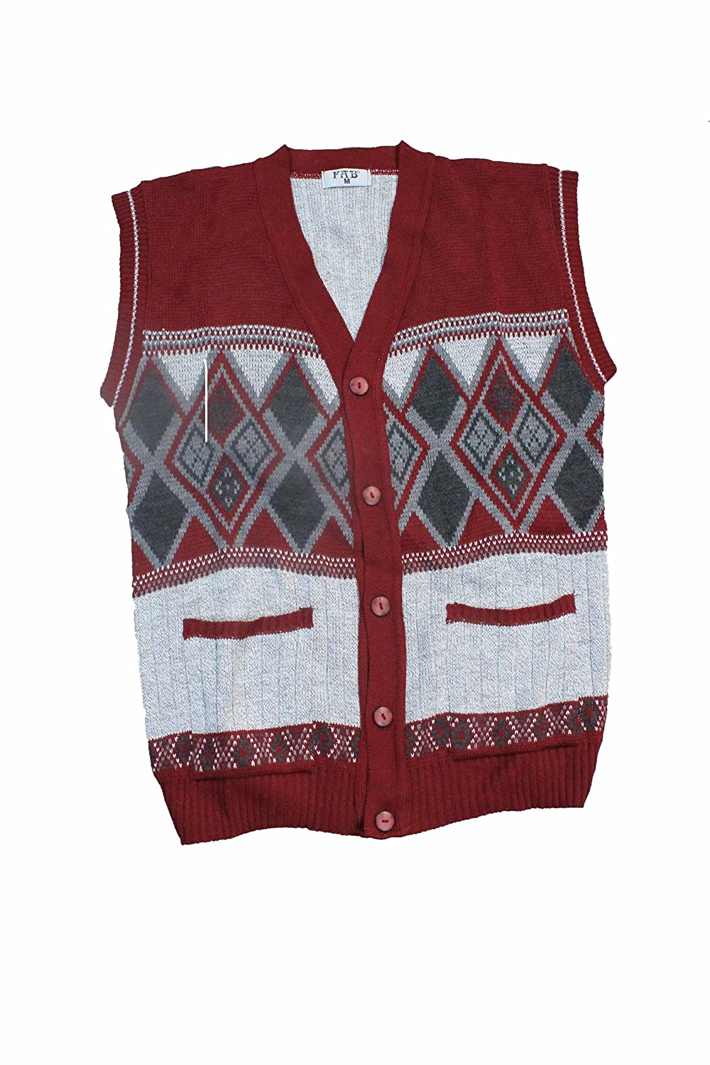 Clothing Trader Gents Grandad Sleeveless Button Up Argyle Diamond Pattern Mens Waistcoat 3028 w/c