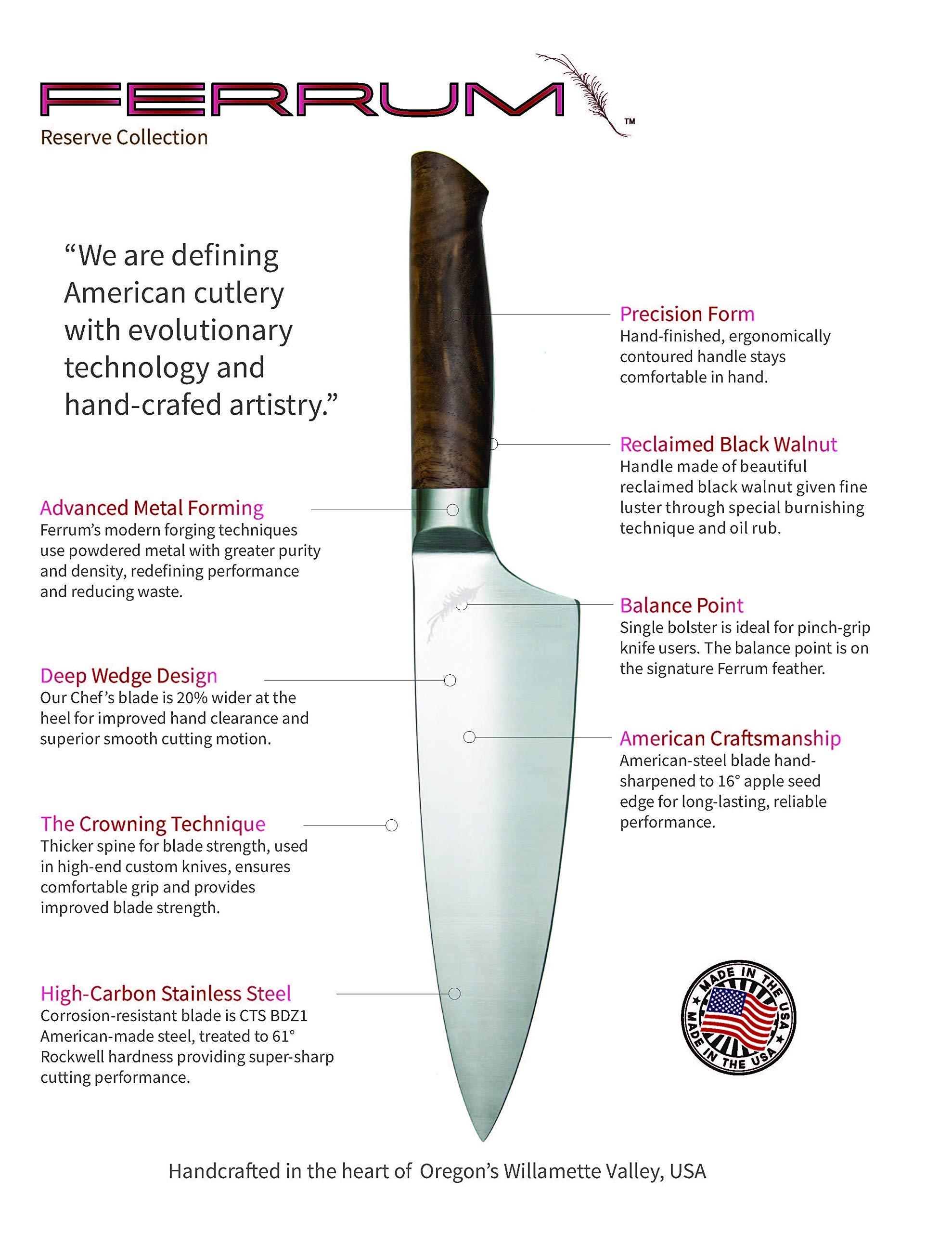 Ferrum RSRV-STEK-0500 Reserve Single Bolster Steak Knife, 5-Inch, Black Walnut by Ferrum