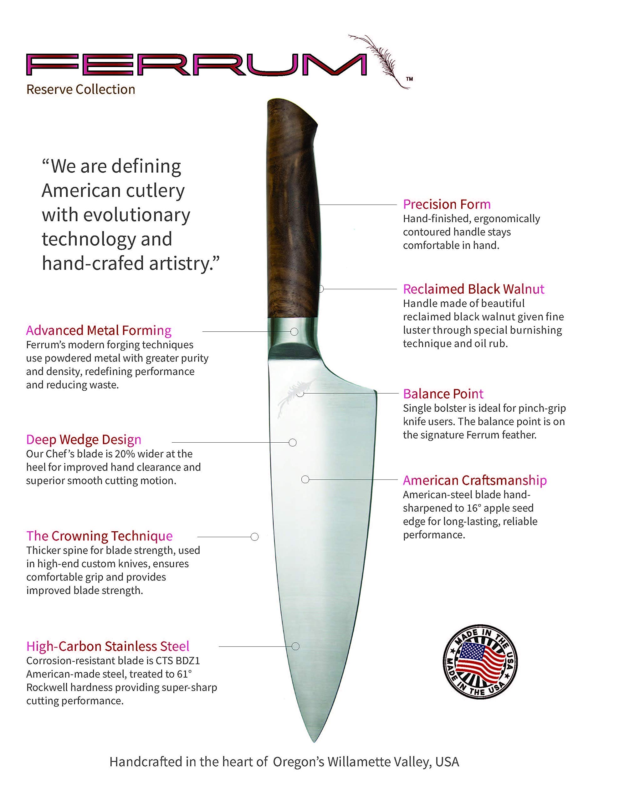 Ferrum RSRV-STEK-0500 Reserve Single Bolster Steak Knife, 5-Inch, Black Walnut