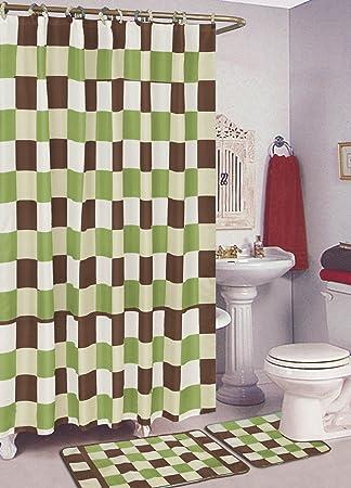 SALLY TEXTILES Checker Bath Rug, Sage/Brown
