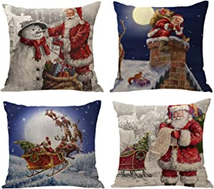 "YZEECOL Christmas Pillow Covers Merry Christmas and Reindeer Santa Clause Design Xmas Tree Decorations for Home Decor Farmhouse Buffalo Plaid Cushion Cover Throw Pillow Covers 18""x18"" Set of 4 Blue"