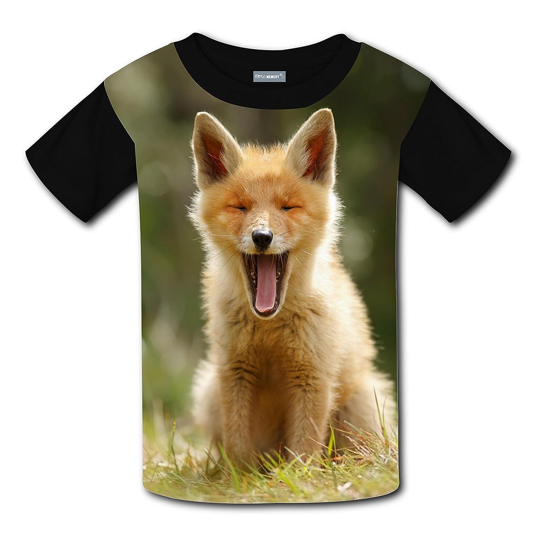 LLYMG Hungry Fox Children T-Shirt 3D Graphic Crew Neck Tees for Boys Girls