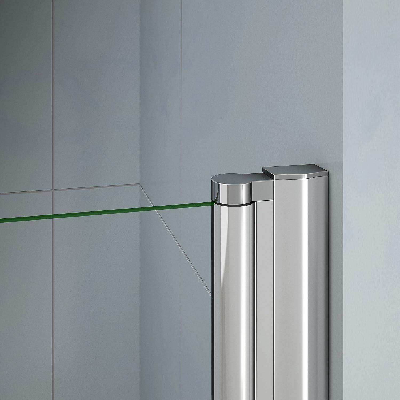 Porte de douche 70x197cm en verre anticalcaire avec un receveur installation en niche mod/èle dH/élida