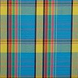 Tissu madras - Bleu, jaune - Largeur 140cm - Longueur à la coupe par 50cm