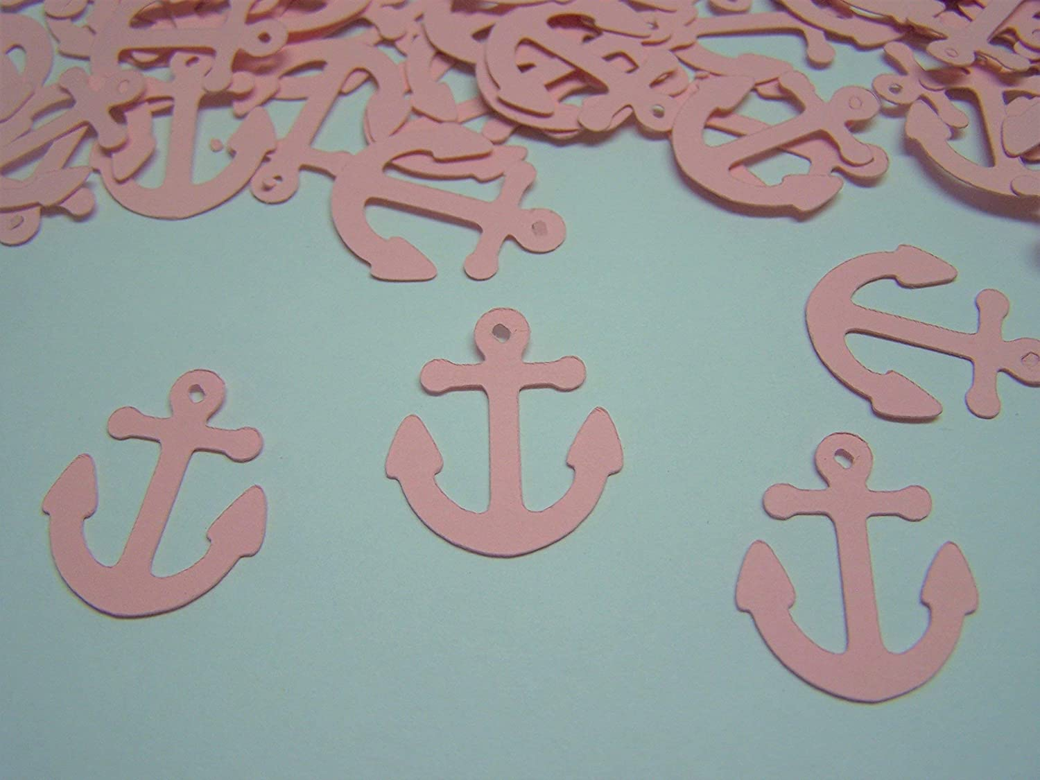100 Pink Anchor Confetti Nautical Baby Shower 1 Inch Anchor Die Cut Anchor Cut out Embellishment Table Scatter Nautical Wedding