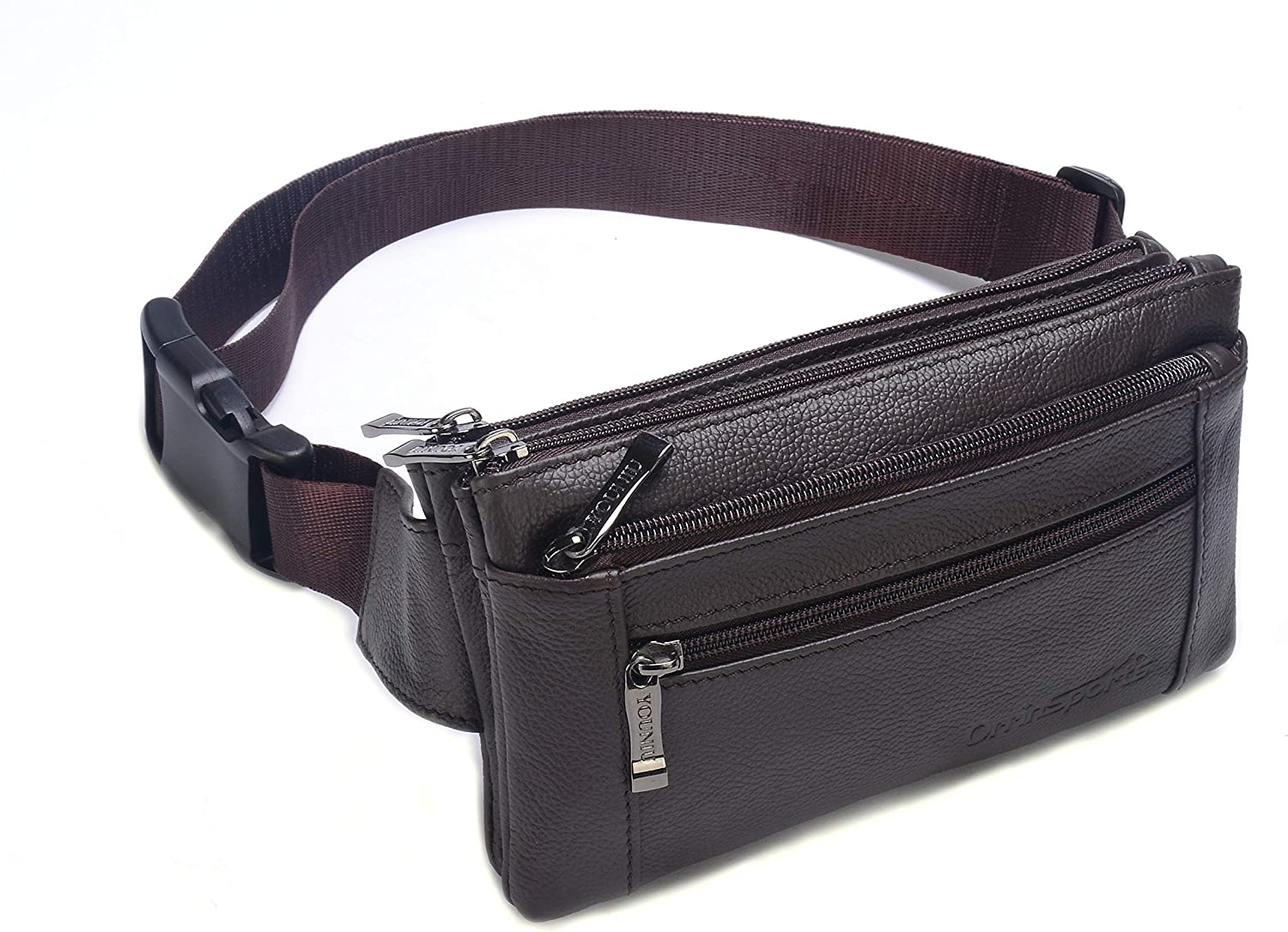 OrrinSports Leather Waist Bag Multiple Pockets Fanny Pack for Women Men Daily Life and Travel Outdoor