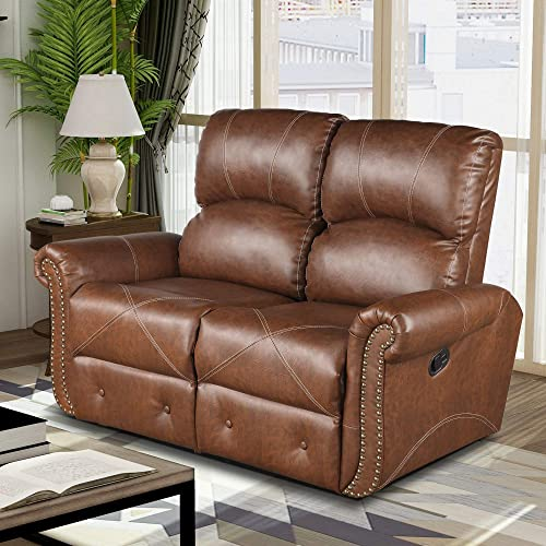 Merax Loveseat Leather Reclining Sofa Leather Couch Recliner Sofa Couch Living Room Furniture Tawny