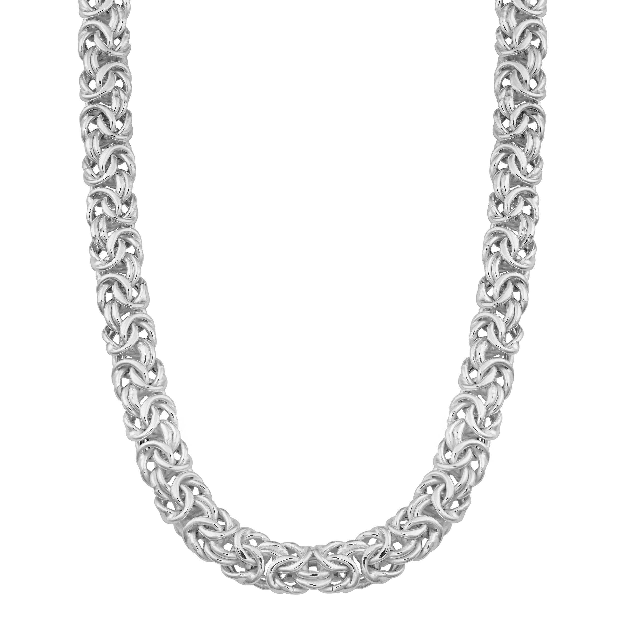 Sterling Silver 6.5mm Byzantine Link Chain Necklace (30 inch)
