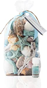 ANDALUCA Ocean Plumes Scented Seashell Potpourri | Made in California | Large 20 oz Bag + Fragrance Vial | Scents of Orange, Lime, Bergamot, Lily, Rose and Tonka Beans | Coastal Home Decor
