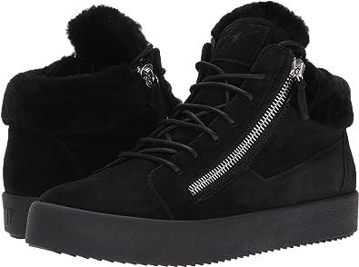 149da037a3 Giuseppe Zanotti Men's May London Mid Top Shearling Sneaker Black 41 ...