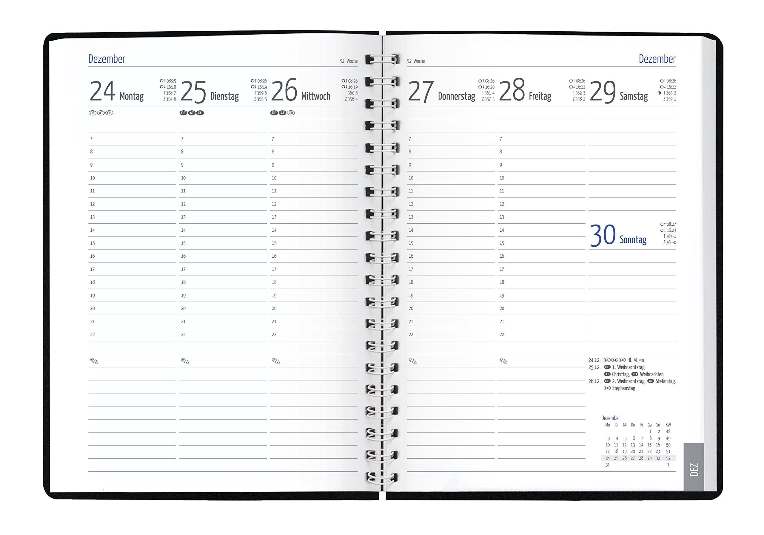 GÜSS Euro-Timer 2019, Nr. 58890, 144 Seiten, 1 Woche = 2 Seiten, Wire-O-Bindung, Einband Tucson schwarz, Größe: 17,2cm x 24cm