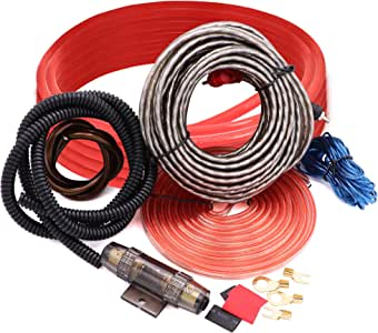 Jeemitery 8 Gauge Car Amp Wiring Kit - A Car Amplifier Installation Wiring Helps You Make Connections and Brings Power to Your Radio, Subwoofers and Speakers