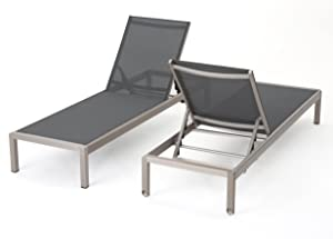 Christopher Knight Home Cape Coral Outdoor Mesh Chaise Lounges, 2-Pcs Set, Dark Grey / Silver