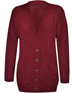 939124755c1939 ... Cardigan Size 8. RIDDLED WITH STYLE Womens Long Sleeve Chunky Cable  Knitted Button Ladies Grandad…