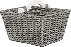RGI Home Rectangular Resin Woven Organizer Basket Bin - Large Handcrafted Storage Basket with Divided Sections and Organic Wood Handle (Gray)