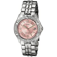 GUESS Women's G75791M Sporty Silver-Tone Watch with Pink Dial, Crystal-Accented Bezel and Stainless Steel Deployment Buckle