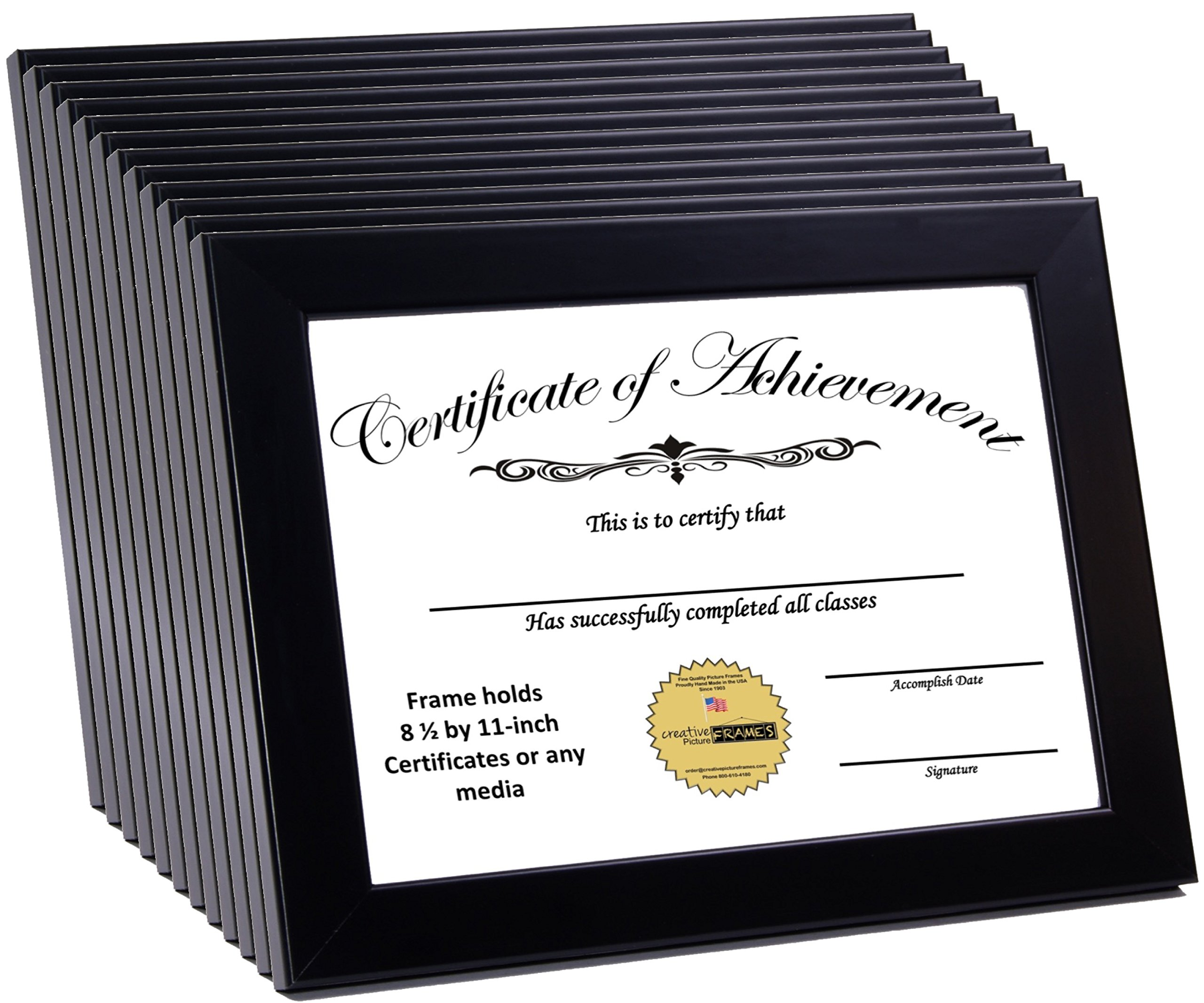 CreativePF [8.5x11bk] Black Document Frame Displays 8.5 by 11-inch Certificate, Graduation, University, Diploma Frames by Creative Picture Frames