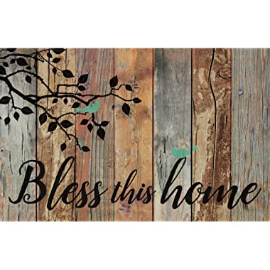 P Graham Dunn Bless This Home Birds Design Distressed 25 x 16 Inch Solid Pine Wood Pallet Wall Plaque Sign