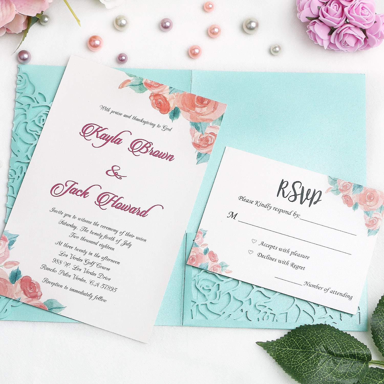 FEIYI 20 PCS 3 Folds Laser Cut Rose Shape Wedding Invitations Cards for Wedding Bridal Shower Engagement Birthday Graduation Invitation Cards (Tifny)