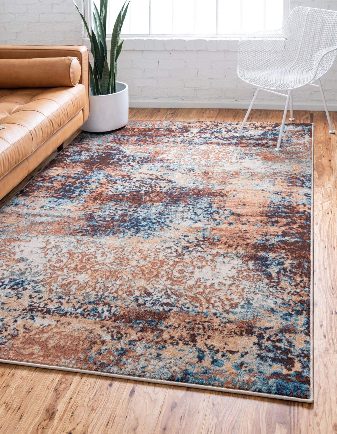 Unique Loom Mystic Collection Abstract Rustic Vintage Brick Red Area Rug 4 0 x 6 0
