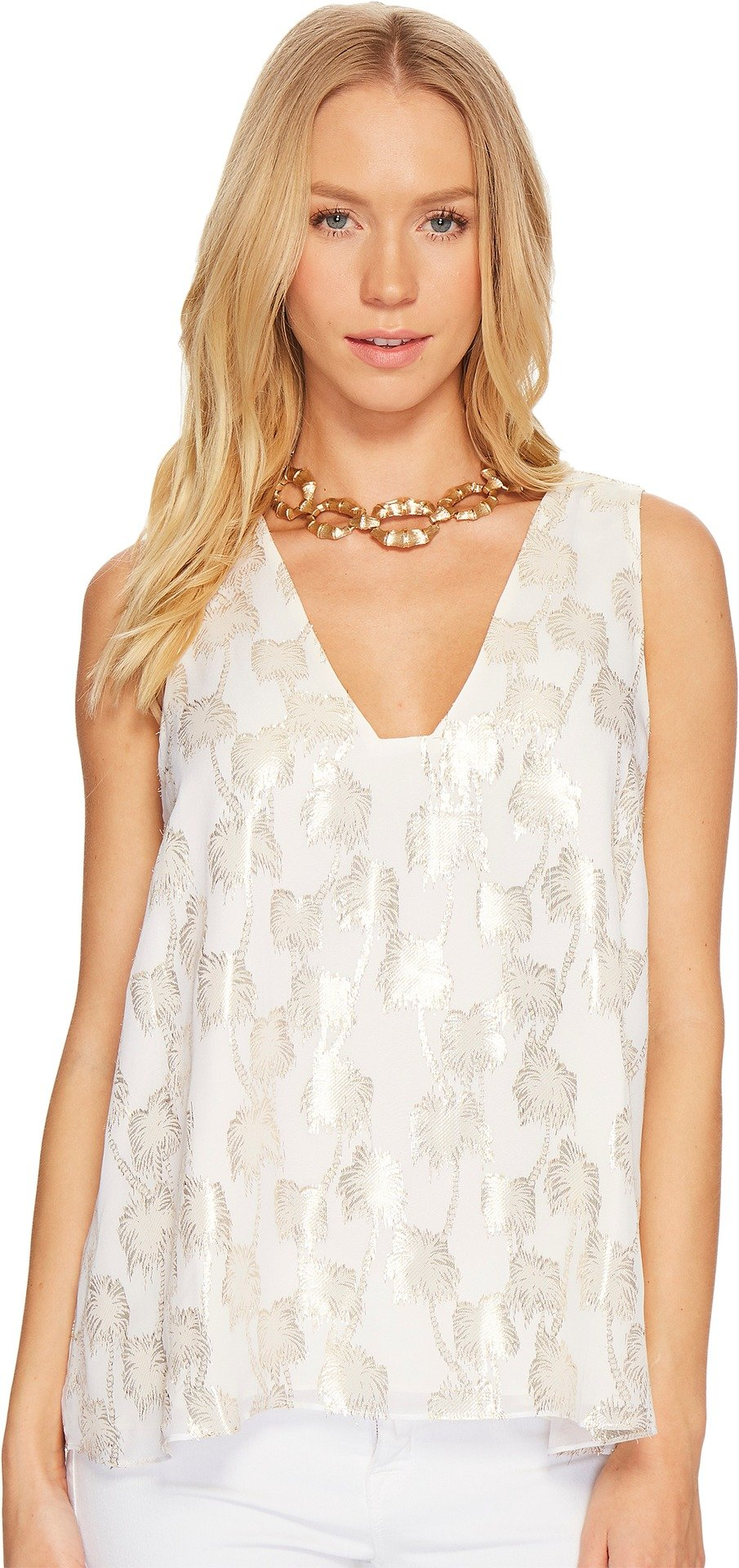 Lilly Pulitzer Women's Owen Silk Clip Top Resort White Metallic Palm Tree Clip Jacquard X-Small